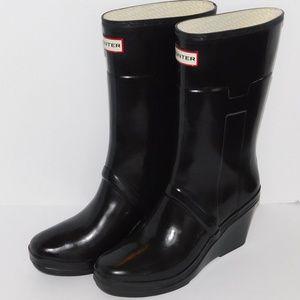 "Hunter Black ""Kellan"" Wedge Rain Boots/ Size 7"
